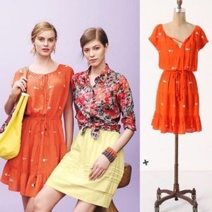 Leifnotes Mirror Coral Orange Embroidered Dress 2
